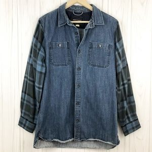 Pacsun Modern Amusement Plaid Sleeves Denim Shirt